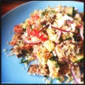 Couscous met gegrilde groenten, geitenkaas en arganolie