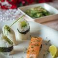 Kerstmenu 2014: Het Hoofdgerecht- Zelf gerookte zalm en rijstrolletjes met avocado